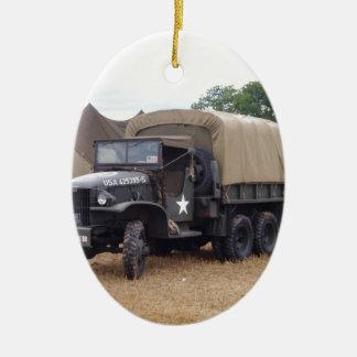 Vintage Military Truck Ceramic Ornament