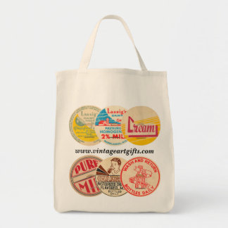 Vintage Milk Bottle Cap Organic Grocery Tote