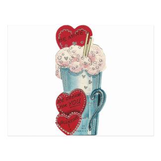 Vintage Milkshake Valentine Postcard