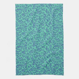 Vintage Mint Green Periwinkle Purple Retro Floral Kitchen Towel