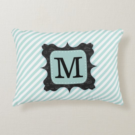 Vintage Mint Green Stripes Pattern Black Monogram Accent Pillow