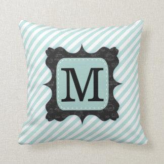 Vintage Mint Green Stripes Pattern Black Monogram Throw Pillow