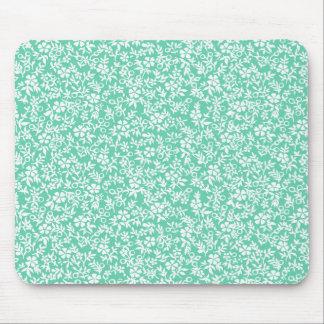 Vintage Mint Green White Antique Floral Pattern Mouse Pad