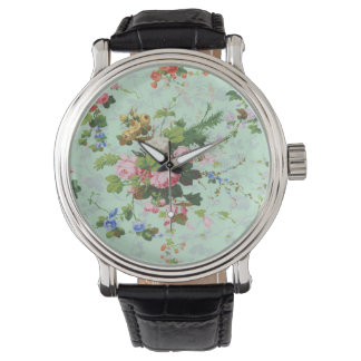Vintage mint shabby floral chic roses rose flowers wristwatches