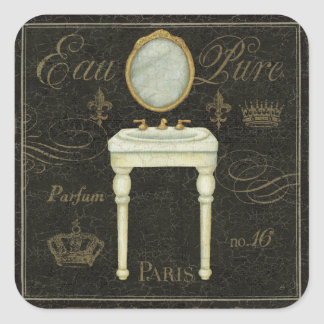 Vintage Mirror and Sink Square Sticker