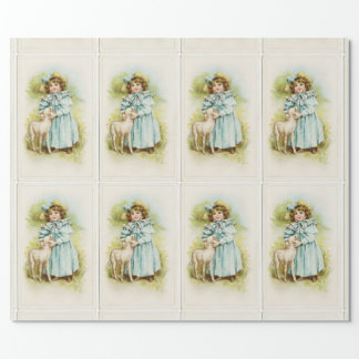 Vintage Miss With Lamb Wrapping Paper