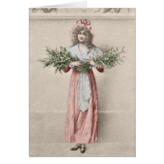 Vintage mistletoe holly girl Christmas Card