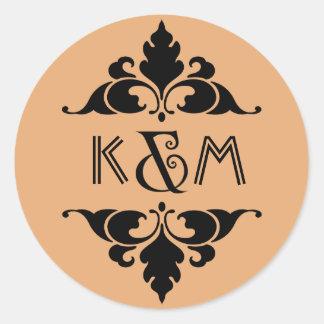 Vintage Modern Art Deco Black & Gold Monogram Round Sticker