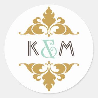Vintage Modern Art Deco Mint & Gold Monogram Round Sticker