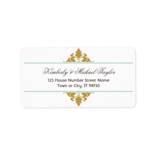 Vintage Modern Art Deco Mint & Gold Wedding Label