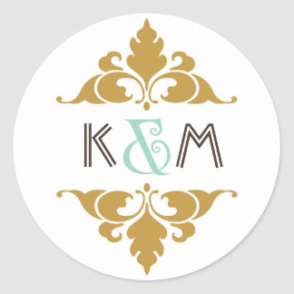 Vintage Modern Art Deco Mint & Gold Wedding Round Sticker
