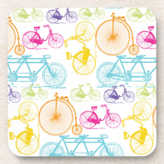 Vintage Modern Bicycle Bright Color Neon Pattern Beverage Coasters