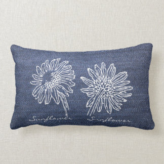Vintage modern botanical Sunflower drawing demin Lumbar Pillow