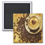 vintage modern coffee beans cappuccino heart square magnet