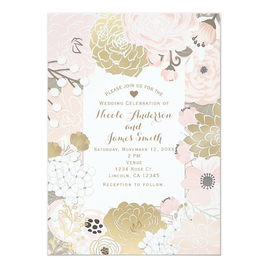 Vintage Modern Floral Botanical Pink Gold Wedding Card