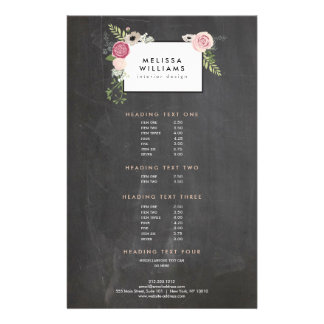 Vintage Modern Floral Motif on Chalkboard Designer Full Colour Flyer