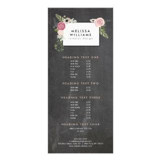Vintage Modern Floral Motif on Chalkboard Designer Rack Card