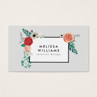 Vintage Modern Floral Motif on Gray Designer Business Card