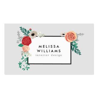 Vintage Modern Floral Motif on Gray Designer Pack Of Standard Business Cards