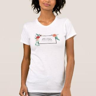 Vintage Modern Floral Motif on White T-shirt