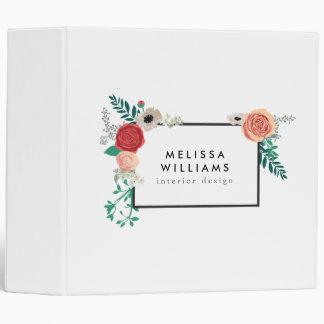 Vintage Modern Floral Motif Personalized Binder