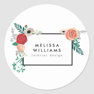 Vintage Modern Floral Motif Personalized Stickers