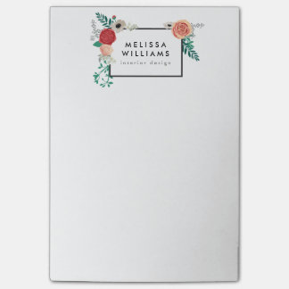 Vintage Modern Floral Motif Post-it Notes