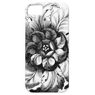 Vintage Modern Flower Design in Black and White Case For The iPhone 5