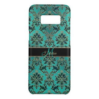 Vintage Modern Glam Teal Damask Monogram Case-Mate Samsung Galaxy S8 Case