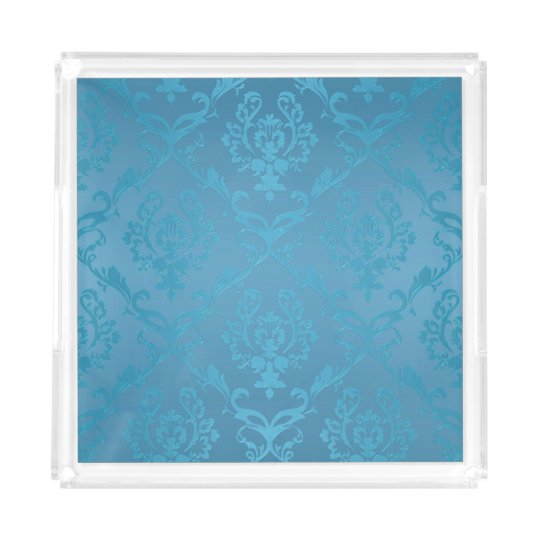 Vintage Modern Glam Turquoise Damask Acrylic Tray