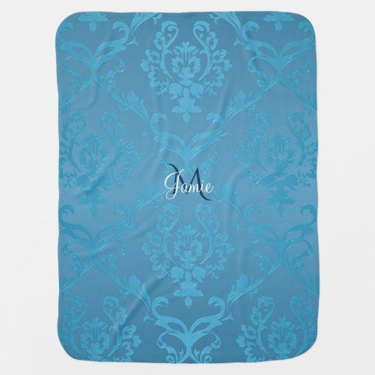 Vintage Modern Glam Turquoise Damask Baby Blanket