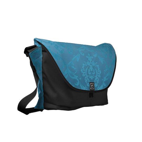 Vintage Modern Glam Turquoise Damask Courier Bag