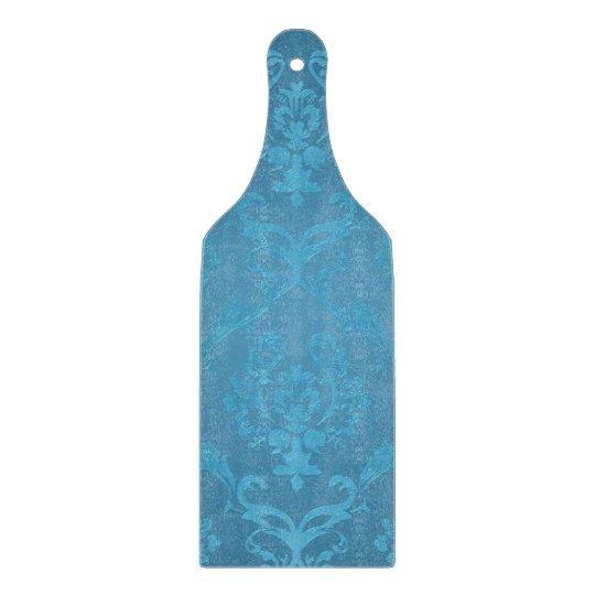 Vintage Modern Glam Turquoise Damask Cutting Board