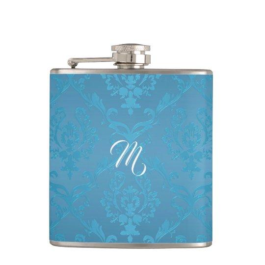 Vintage Modern Glam Turquoise Damask Hip Flask