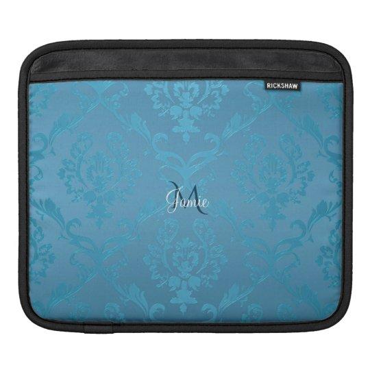 Vintage Modern Glam Turquoise Damask iPad Sleeve