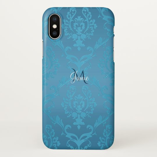 Vintage Modern Glam Turquoise Damask iPhone X Case