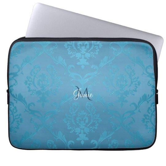 Vintage Modern Glam Turquoise Damask Laptop Sleeve