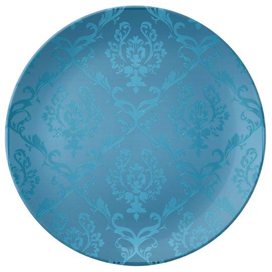 Vintage Modern Glam Turquoise Damask Plate