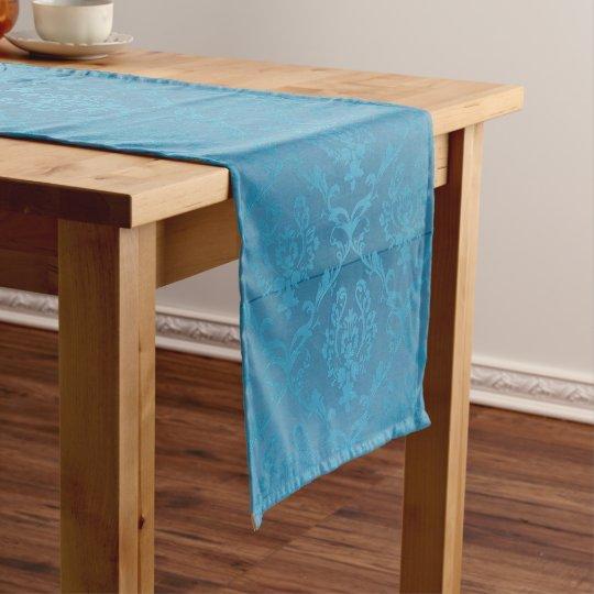 Vintage Modern Glam Turquoise Damask Short Table Runner