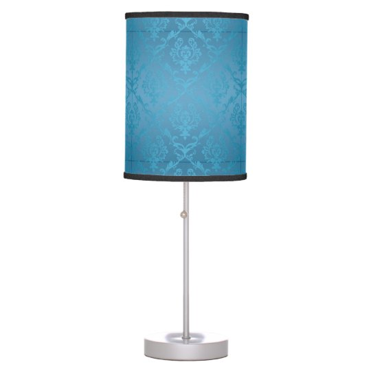 Vintage Modern Glam Turquoise Damask Table Lamp
