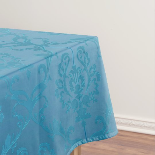 Vintage Modern Glam Turquoise Damask Tablecloth