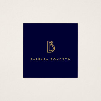 VINTAGE MODERN GOLD and NAVY INITIAL MONOGRAM LOGO Square Business Card