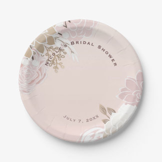 Vintage Modern Pink & Gold Rustic Floral Wedding 7 Inch Paper Plate