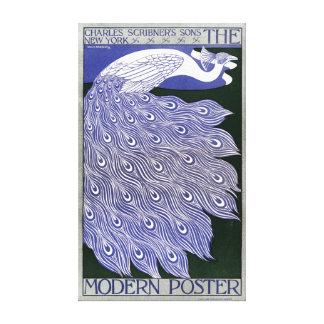 Vintage Modern Poster Peacock Magazine Cover Canvas Print