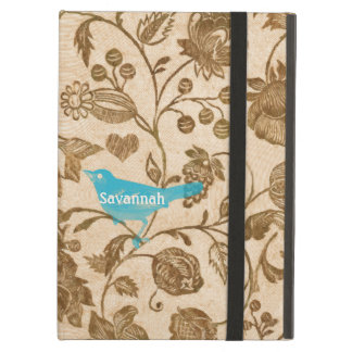 Vintage Modern Red Aqua Love Birds Floral Pattern iPad Air Case