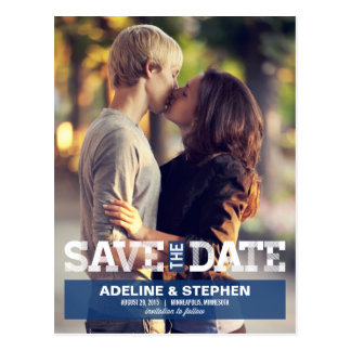 Vintage Modern Wedding Save The Date - Blue Postcard