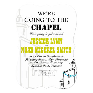 Vintage Modern We're going to the Chapel Wedding Card