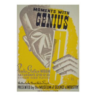"""Vintage """"Moments With Genius"""" WPA Poster"""