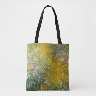 Vintage Monet Painting Path Through Irises Tote Bag