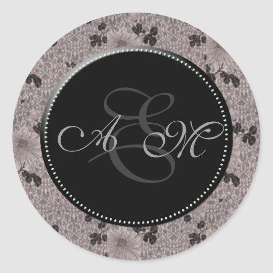 Vintage Monogram Black and White Classic Round Sticker